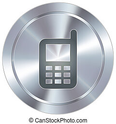 Cellphone on industrial button - Cell phone icon on round...
