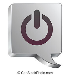 Power icon on steel bubble