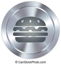 Hamburger on industrial button - Hamburger icon on round...