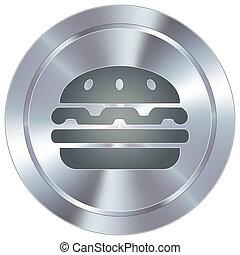Hamburger on industrial button