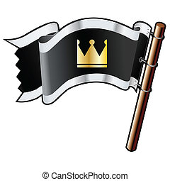 Crown icon on black flag - Crown icon on black, silver, and...