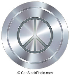 Peace sign on industrial button - Peace sign icon on round...
