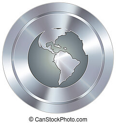 Globe icon on industrial button - Globe icon on round...