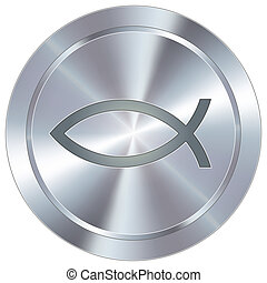 Jesus fish on industrial button - Christian Jesus fish icon...