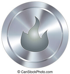 Fire icon on industrial button - Fire or campfire icon on...