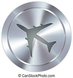 Airplane icon on industrial button - Airplane or airport...