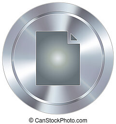 Document icon on industrial button - Paper document icon on...