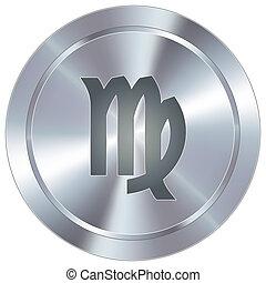 Virgo zodiac on industrial button