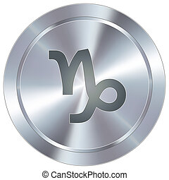Capricorn zodiac industrial button