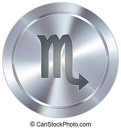 Scorpio zodiac on industrial button