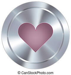 Heart icon on industrial button