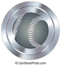 Baseball on industrial button