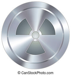 Radiation icon on industrial button - Radioactive warning...
