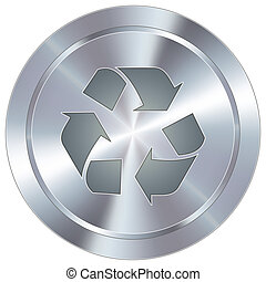 Recycle icon on industrial button - Recycle symbol icon on...