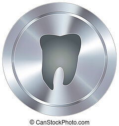 Tooth icon on industrial button - Tooth or dentist icon on...