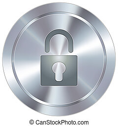 Lock icon on industrial button - Lock or security icon on...