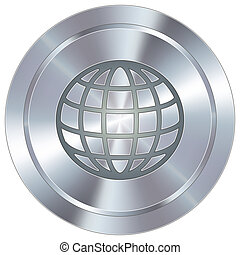 Globe icon on industrial button