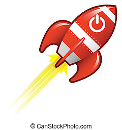 Power icon on retro rocket - Computer power icon on red...