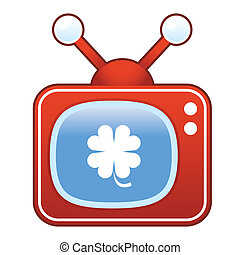 Clover icon on retro television - Luck four leaf clover or...