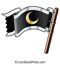 Crescent moon on black flag - Crescent moon icon on black,...