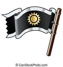 Sun icon on black flag - Sun icon on black, silver, and gold...