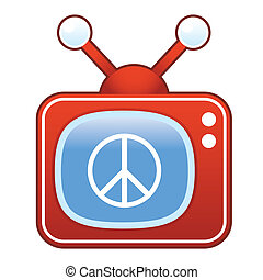 Peace sign on retro television - Peace sign icon on retro...
