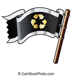 Recycle icon on black flag - Recycle symbol icon on black,...