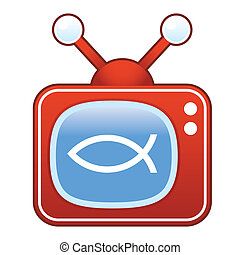 Jesus fish on retro television - Christian Jesus fish icon...