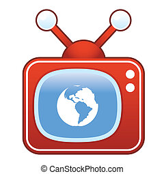 Globe icon on retro television - Planet earth icon on retro...