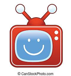 Smiley face on retro television - Smiley face emoticon icon...