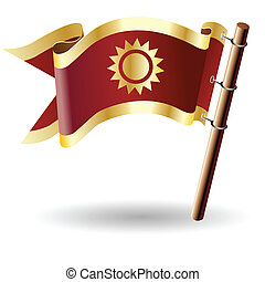 Sun icon on royal flag - Sun icon on red and gold vector...
