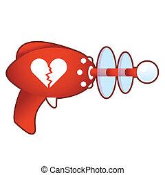 Broken heart on retro raygun - Broken heart icon on laser...