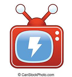 Lightning bolt on retro television - Lightning bolt or...