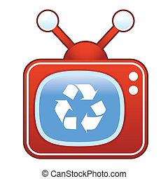Recycle symbol on retro television - Recycle symbol icon on...