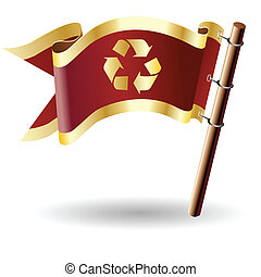 Recycle icon on royal flag - Recycle symbol icon on red and...