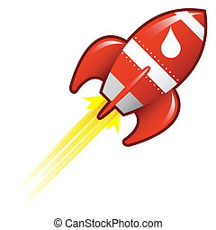 Liquid drop on retro rocket - Water or oil drop icon on red...