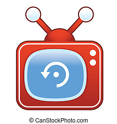 Refresh icon on retro television