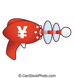 Japanese Yen on retro raygun - Japanese yen currency icon on...