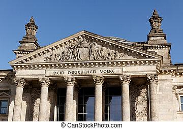 Deutscher Bundestag in Berlin Germany - Facade of the...