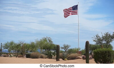 USA Flag Flying High in the Desert - The United States of...