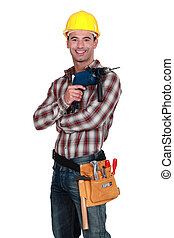 Man with a powerdrill