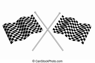 Checkered flags - 3D render of checkered flags