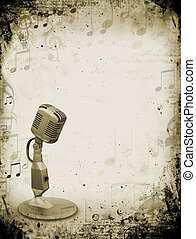 Grunge music - Retro microphone on grunge music background