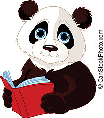 Panda reading a book - Cute Panda reading a book