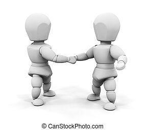 Handshake - 3D render of two people shaking hands