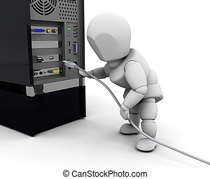 Person plugging in cable - 3D render of a person plugging in...