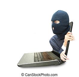 computadora, crimen, concepto