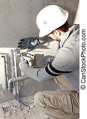 idraulici, installare, drenaggio