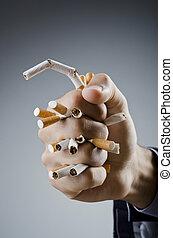 Anti smoking concept with man