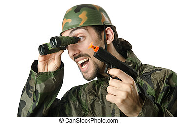 Funny soldier with binoculars